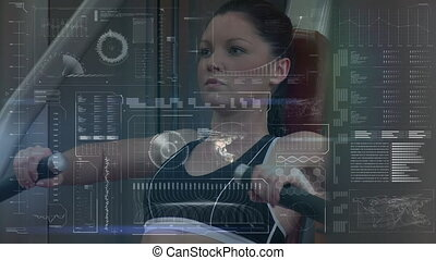 Animation of data processing, charts and analytics with a Caucasian woman working out at a gym on a weight training machine in the background