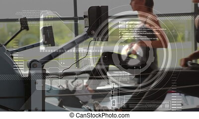 Animation of data processing, scope scanning and analytics, with a group of Caucasian men women working out in a gym using rowing machines in the background