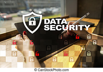 Data protection and cyber security concept on the virtual...