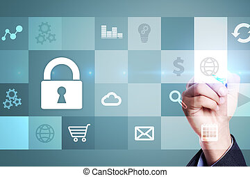 Data protection and cyber security concept on virtual screen.