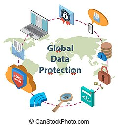 Data protection and safe work - Flat 3d web isometric online...