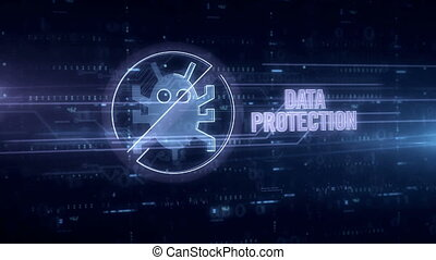 Data protection blue hologram - Data protection and virus...