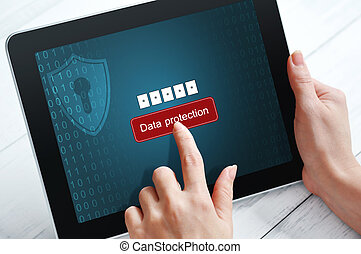 Data protection concept - Female hands using tablet pc...