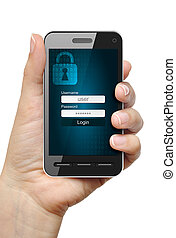 Data protection concept - Mobile phone in female hand...