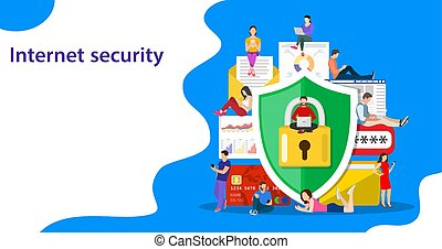 Data protection concept. Safety and confidential data ...