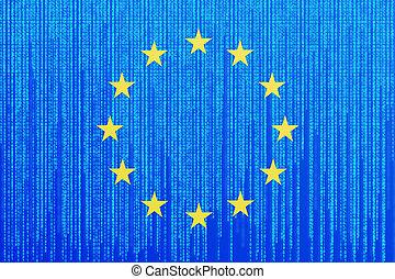 Data protection Europe Union flag. EU flag with binary code.