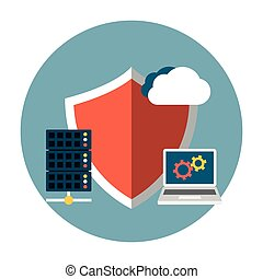 Data Protection Flat. Editable EPS vector format