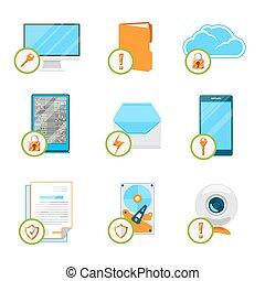 Data protection flat icon set