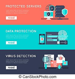 Data protection horizontal banners set with secure servers information safety virus detection isolated vector illustration