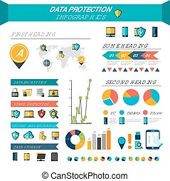 Data protection infographics set with safe information storage symbols and chart vector illustration