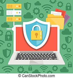 Data protection, internet security flat illustration ...