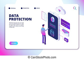 Data protection isometric concept. Personal identity, protected document finance security. Confidential business vector landing page