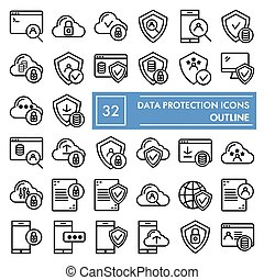 Data protection line icon set, computer safety symbols collection, vector sketches, logo illustrations, server protect signs linear pictograms package isolated on white background, eps 10.