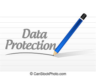 Data Protection message sign illustration