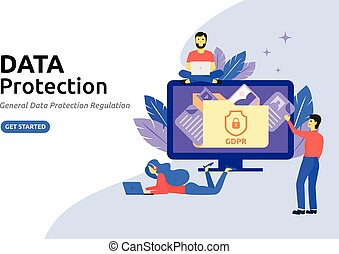 Data protection modern flat design concept. Protecting online data for a web page, coding, programming, application development.