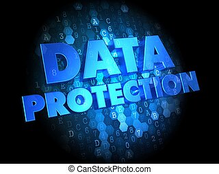 Data Protection on Dark Digital Background.