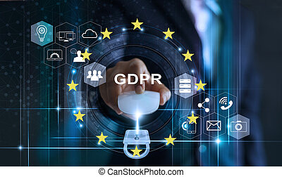 Data protection privacy concept. GDPR. EU. Cyber security. Business man using mouse computer with padlock icon and internet technology network on blue background.