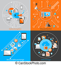 Business data protection technology and cloud network security concept infographic design elements vector illustration