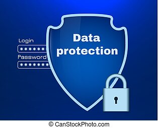 Data protection theme with shield and lock