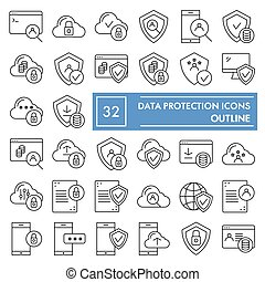 Data protection thin line icon set, computer safety symbols collection, vector sketches, logo illustrations, server protect signs linear pictograms package isolated on white background, eps 10.