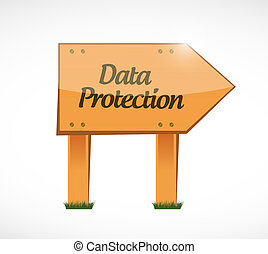 Data Protection wood sign illustration