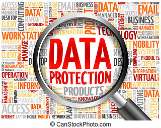 Data protection word cloud with magnifying glass, business...