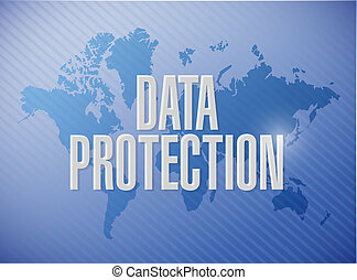 Data Protection world map sign illustration