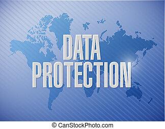 Data Protection world map sign illustration