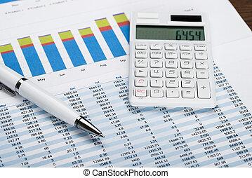 data, räknemaskin, finansiell, penna, ark