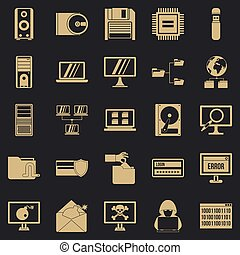 Data recovery icons set, simple style