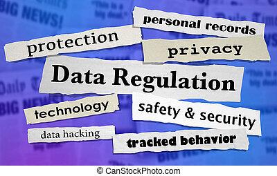 Data Regulation Newspaper Headlines 3d Illustration