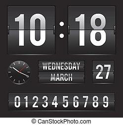 data, retro, inverter, dual, relógio