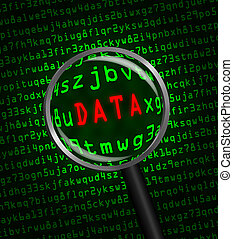 """""""DATA"""" revealed in computer code through a magnifying glass"""