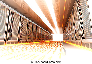 Data Rush - Data rush on the Server highway. 3d rendered ...