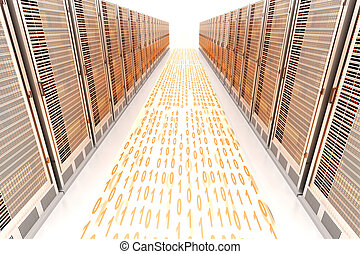Data rush on the Server highway. 3d rendered Illustration.