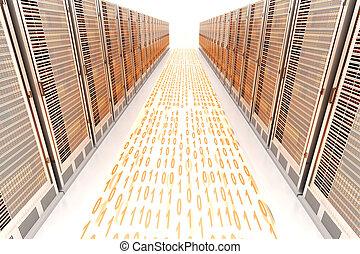 Data Rush - Data rush on the Server highway. 3d rendered...