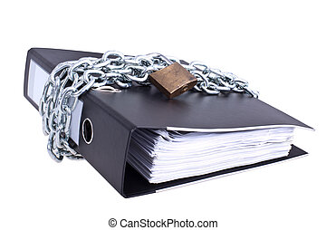 Data safety, folder locked with big chain