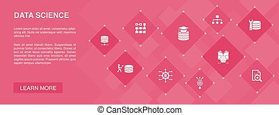 Data Science banner 10 icons concept. machine learning, Big Data, Database, Classification icons