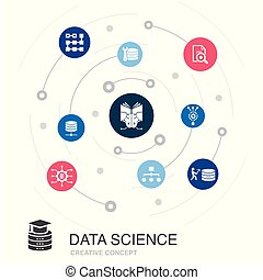 Data Science colored circle concept with simple icons. Contains such elements as machine learning, Big Data, Database