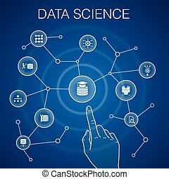 Data Science concept, blue background. machine learning, Big Data, Database, Classification simple icons