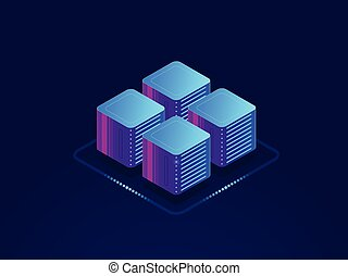 Data science concept, digital information processing, server room, cloud storage isometric