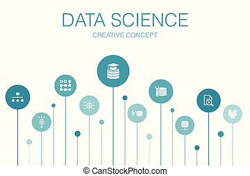 Data Science Infographic 10 steps template. machine learning, Big Data, Database, Classification icons