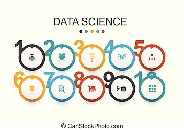 Data Science Infographic design template machine learning, Big Data, Database, Classification simple icons