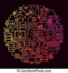 Data Science Line Icon Circle Concept