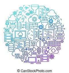 Data Science Line Icon Circle Design
