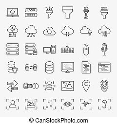 Data Science Line Icons Set