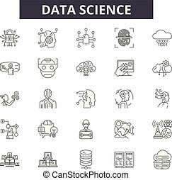 Data science line icons, signs set, vector. Data science outline concept, illustration: science, technology, data, information, graphic, web