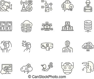 Data science line icons, signs, vector set, outline illustration concept