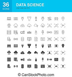 Data Science Line Web Glyph Icons
