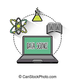 data science online flat icons